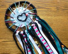 Dream Catcher hand made colorful hippie bohemia heart by sarijanes, $16.00