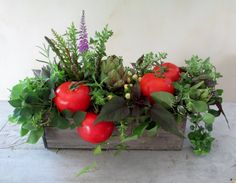 Floral Arranging Classes with Alison Buck.  Summer blooms with fruit/vegetables