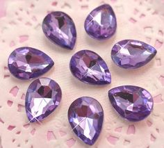 These gorgeously sparkling purple pear shaped rhinestone cabochons are perfect for all kinds of craft projects. #Craft #DIY