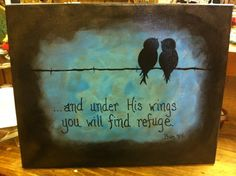 Bird on a Wire Hand Painted Canvas with Scripture