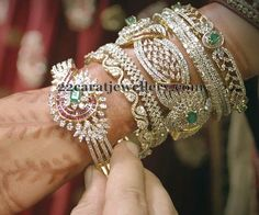 Jewellery Designs: Broad Chic Diamond Bangles Sets