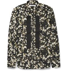 Givenchy Button-Down Collar Floral-Print Cotton Shirt