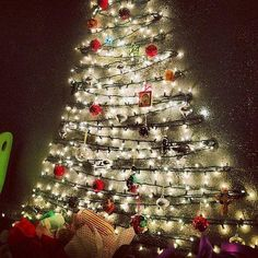 Christmas Tree On Wall With Lights a rustic, minimalist christmas tree. such a simple and stylish diy