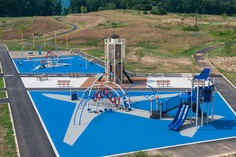 This #playground offers an airport-themed play experience for #kids ages 2 to 12. This #innovative playground is located at Bernel Park in State College, Pa.