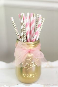 Gold painted mason jar By Beach Blues From DelightfulDeets.com