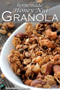This homemade granola recipe is an awesome mix of nuts, seeds oven roasted in honey along with rolled oats. Oh, and I also threw in some mini chocolate chips and coconut for good measure! :)