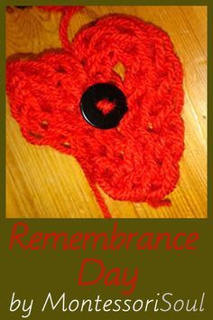 Tutorial including finger knitted poppy and ideas of how to share Remembrance day with children from 2 - 18 Finger Crochet, Finger Knitting, Crochet Hats, Memorial Day Activities, Activities For Kids, Veterans Memorial Day, Knitted Poppies, Crochet Poppy, Anzac Day