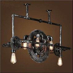 Iron Pipe Chandelier Industrial Wind gear Hanging Lamp 2016 - $765.88