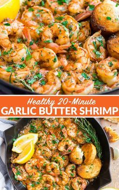 TO DIE FOR Easy Garlic Butter Shrimp! So EASY and everyone always asks me for the recipe. It's the best! Cooks in one pan and the lemon garlic butter sauce is incredible. Serve with rice, over pasta to make shrimp scampi, or dip with bread. #wellplated #garlicbuttershrimp #shrimp #easy via @wellplated Butter Sauce For Shrimp, Buttered Shrimp Recipe, Lemon Garlic Butter Sauce, Shrimp And Rice Recipes, Shrimp Recipes For Dinner, Shrimp Dishes, Lemon Butter Shrimp, Lemon Garlic Shrimp, Garlic Shrimp Recipes