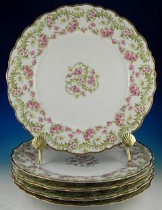 Limoges Pink Cabbage Rose Dinner Plates. Made in France c. mid century 1900's