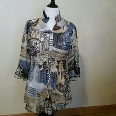 Sheer tunic - what a show off! Love every detail on this tunic from the ruffled stand up collar to the pretty buttons and ruffled 3/4 sleeves, to the elasticized waist and that crazy print pattern. Gorgeous colors of blue, blush, chocolate and grey. V Cristina  Tops Tunics