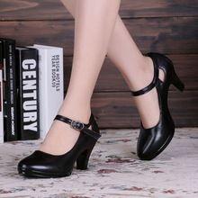 Viernes negro 20% Off 35-40size Zapatos de Tacón Cuadrado de la Mujer OL Negro de Tacón Alto Con Punta Redonda Correas Gruesas Bombas Zapatos de las sandalias(China (Mainland))