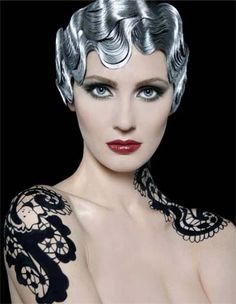 Silver finger waves, lace body painting