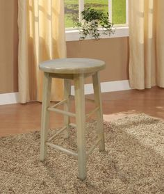 "Linon 98101NAT-01-KD 29"" Barstool With Round Seat"