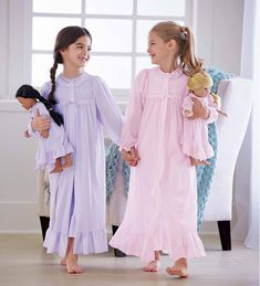 From CWDkids: Peignoir Set & Matching Doll Outfit Kids Pajamas, Pyjamas, Little Girl Dresses, Girls Dresses, Girls Sleepwear, Royal Clothing, Kind Mode, Night Gown, Baby Dress