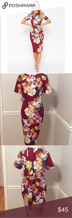 NWT ASOS Floral Scuba Dress This dress is amazing, but it's too big for me :/ this is a reposh. Material is so nice!!! Stretchy fit. ASOS Dresses Midi