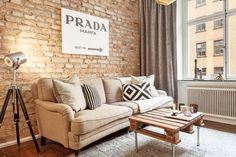 Les petites surfaces du jour : la brique fait le show #livingroom