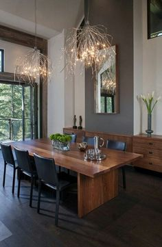 Lake Tahoe Residence - rustic - Dining Room - Other Metro - Chelsea Sachs Design Dining Room Walls, Dining Room Design, Living Room, Dining Area, Dining Table, Deco Cool, Modern Interior Design, Interior Decorating, Decorating Ideas