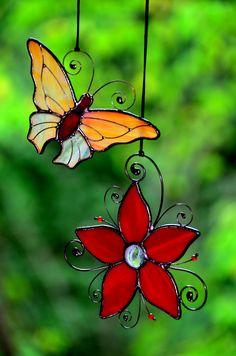 Stained glass Suncatchers, window decor, garden decor, garden butterfly, stained glass butterfly, stained glass flower, glass art, glass decor