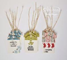 A gift box of Christmas tags - Stampin' Up Artisan blog hop