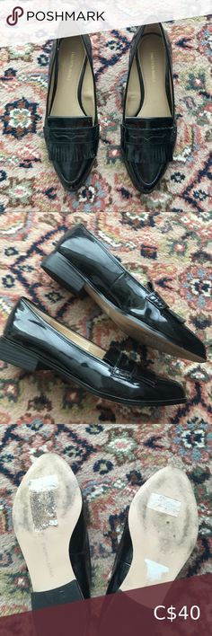 SAKS FIFTH AVENUE Patent Fringe Loafers Size 7.5 Like new condition except for a small flaw on a seam (see photos) - not noticeable when wearing. Black patent loafers with a pointed toe and fringe! Super classy with dress pants and a blazer coat for fall. Size 7.5 US. From a pet and smoke free home 😊 Saks Fifth Avenue Shoes Flats & Loafers Black Patent Loafers, Black Leather Flats, Black Flats, Tie Up Flats, Ballerina Shoes, Driving Shoes, Pointed Toe Flats, Zara Black, Saks Fifth Avenue