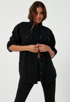 Order today & shop it like it's hot at Missguided. Black Denim Shirt, Oversized Denim Shirt, Black Button Up Shirt, Denim Shirt Dress, Denim Shorts, Boyfriend Shirt Outfits, Beach Shirts, Denim Fabric, Shirt Shop
