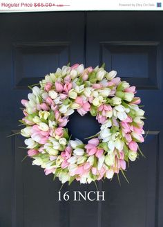 SPRING SALE Spring Wreath- Door Wreath- Easter Wreath- Tulip Wreath- Sizes 16-26 inches, custom colors- The Original Tulip Wreath