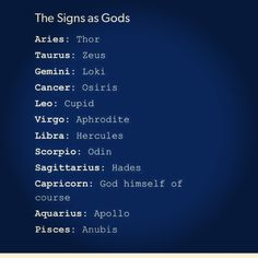 The signs as gods