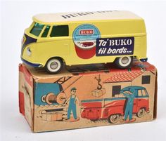 MONTHLY TOY SALE - February 28th 2103 12pm Lot 33 TEKNO NO.405 VW TRANSPORTER TYPE 2 VAN 'BUKO', PRIMROSE YELLOW, WHITE ROOF, VIOLET-BLUE NOSE AND BUMPERS, GREEN WINDOWS, WHITE WALL PLASTIC WHEELS, SMOOTH HUBS, 'BUKO-OST' DECAL TO ROOF, 'TA'BUKO TIL BORDS...' AND ILLUSTRATED DECALS TO SIDES AND REAR (VG BOX G) Estimate $300-500 #toys #dinky #collectables
