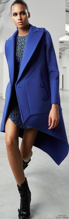 Antonio Berardi Pre-Fall 2015 - navy structured coat over dress...x