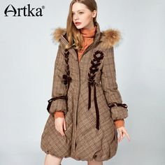 Artka 2017 Womens Long Down Parka Coat With Fur Trim Hood Winter Warm Puffer Duck Down Jacket With Fur Collar Down Parka, Parka Coat, Down Coat, Winter Coats Women, Coats For Women, Clothes For Women, Duck Down Jacket, Aliexpress, Cowls