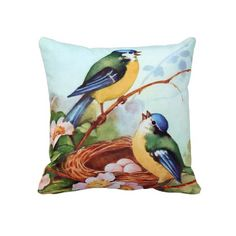 Colorful Birds in Springtime Throw Pillow