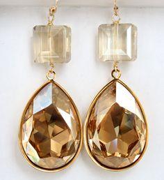 Golden Shades Drops by DesignsbyStacyLee on Etsy. Statement earrings, gold swarovski teardrops