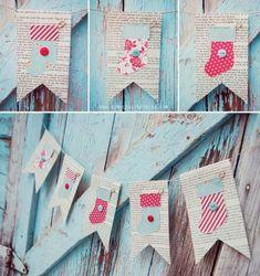 guirnalda con banderolas y la técnica de collage en papel