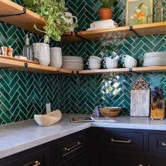 Handmade Ceramic Kitchen Tile Projects by Mercury Mosaics Boho Kitchen, Green Kitchen, Kitchen Colors, Home Decor Kitchen, Kitchen Interior, New Kitchen, Home Kitchens, Moroccan Kitchen Tiles, Colourful Kitchen Tiles