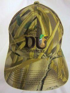 1b66a9df4ee Vintage Ducks Unlimited Ball Cap Trucker Style Camo Mesh Snapback Committee  Hat  DucksUnlimited