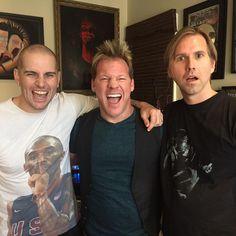 "M. Shadows, Brooks Wackerman y Chris Jericho tras la entrevista en ""Talk is Jericho"" (a7x, 2015)"