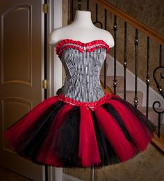 Custom Size Queen of Hearts Red black and white burlesque corset tutu dress Halloween on Etsy, $265.00