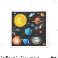 Colorful Astronomy Space Cocktail Napkins Standard Cocktail Napkin
