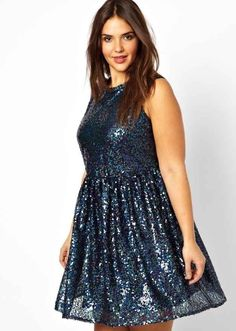 Asos Curve Smock Dress in Holographic Sequin | 50 Insanely Cute Prom Dresses Under $50