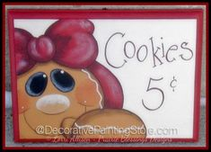 The Decorative Painting Store: Gingerbread Cookies 5 Cents Pattern by Lorri Allisen - PDF DOWNLOAD, Newly Added Painting Patterns / e-Patterns