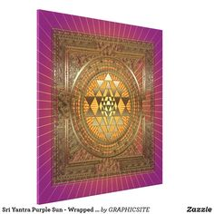 Sri Yantra Purple Sun - Wrapped Canvas Sri Yantra, Cherished Memories, Vacation Pictures, Beautiful Moments, Wrapped Canvas, Wall Tapestry, Weaving, Mandala, Fine Art
