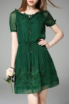 Hanyear Green A Line Pleated Dress | Mini Dresses at DEZZAL