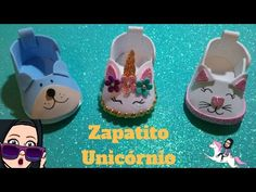 """🦄UNICÓRNIO """"zapatito"""" para DULCES 🦄🍬""""baby shoes foam"""" - YouTube Foam Crafts, Arts And Crafts, Baby Shower Fruit, Baby Shawer, Doll Dress Patterns, Doll Shoes, Flower Making, Animal Drawings, Baby Dress"""