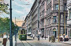 Töölö - Kaivopuisto -linjan Kummer-vaunu Pohjoisella Esplanadikadulla Helsingissä 1900-l. alussa. Esplanade, Helsinki early 20th century.