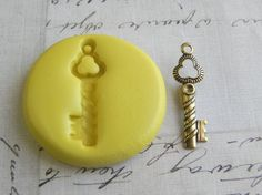TWISTED KEY (with bail) - Flexible Silicone Mold - Push Mold, Polymer Clay Mold, Resin Mold, Clay Mold