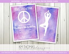 Peace Sign Birthday Invitation - Printable Girl Birthday Invitation - Peace Love Yoga - Yoga Party Invitation - Watercolor - BD195 by KMThomasDesigns on Etsy