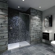 When it comes to creating a contemporary bathroom design the walk-in shower is a must have. With its clean look and minimalist style it is a central piece to creating a contemporary space. What is a Walk-In Shower? Walk In Bathroom Showers, Bathroom Shower Enclosures, Tile Walk In Shower, Gray Shower Tile, Wet Room Shower, Stone Shower, Walk In Shower Designs, Shower Doors, Tiled Showers