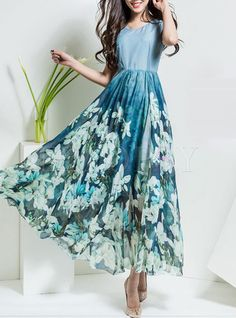 Shop for high quality Slim Nipped Waist Sleeveless Print Patchwork Maxi Dress online at cheap prices and discover fashion at Ezpopsy.com