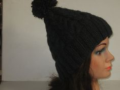 Knitted Cable and Pompom Hat Charcoal Grey by FruitsOfTheFleece, £25.00